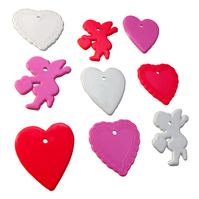 Valentine's Day Shape Multi-Color Mix [ 8-Gram Weights ] - Control Balloon Products
